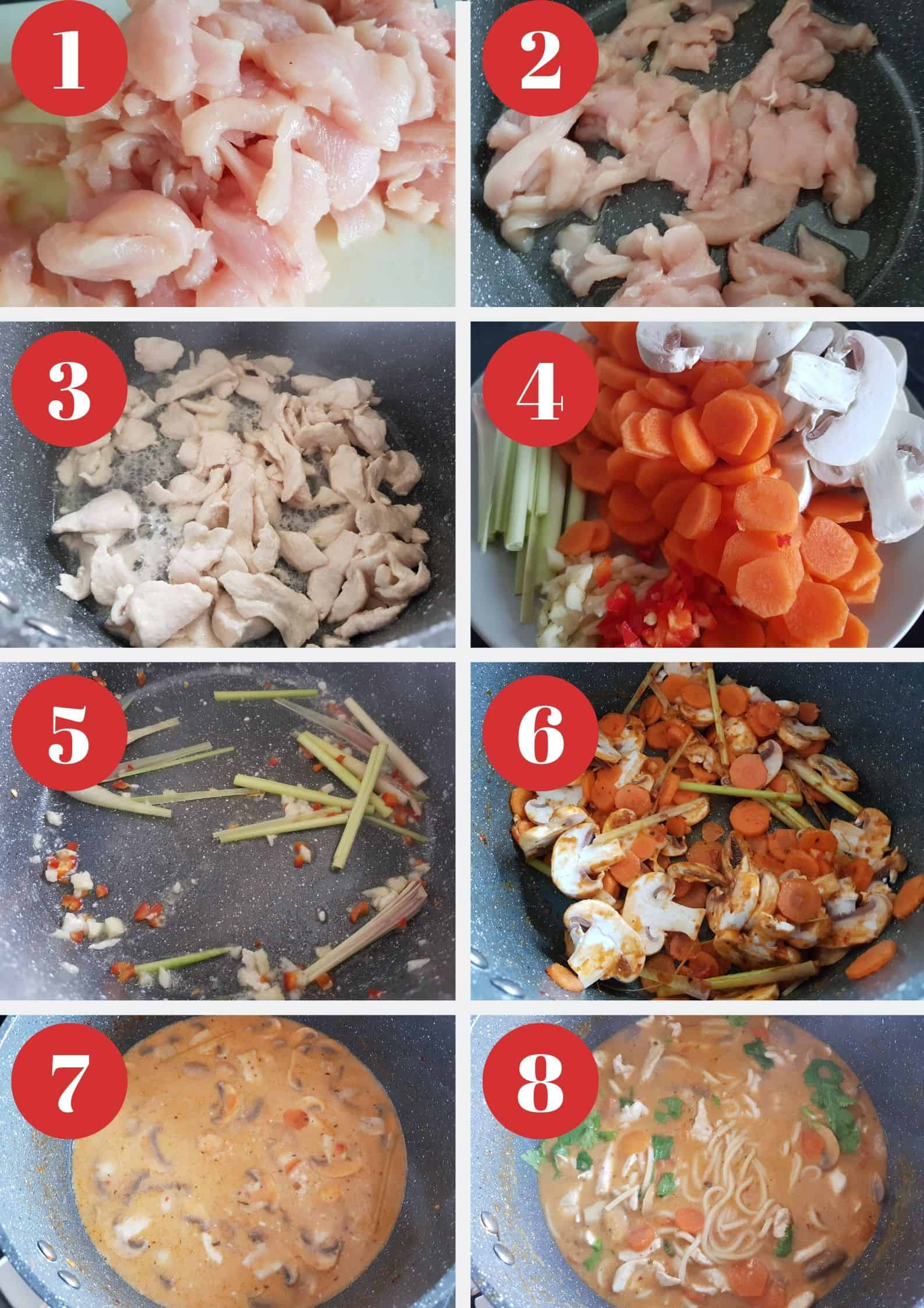 Infographic showing How to make thai chicken noodle soup.
