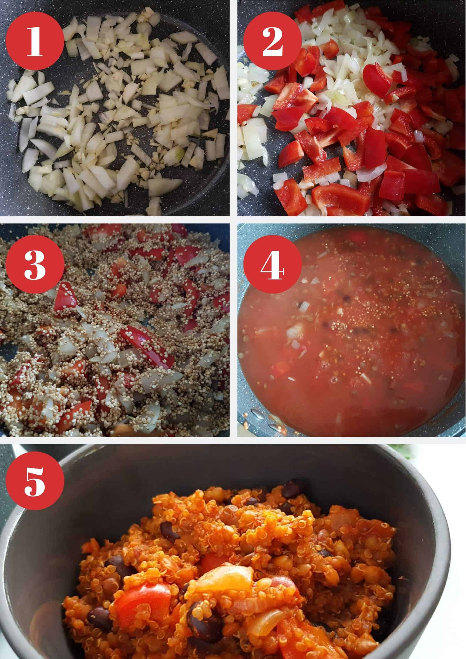 Infographic showing How to make vegetarian chili with quinoa.