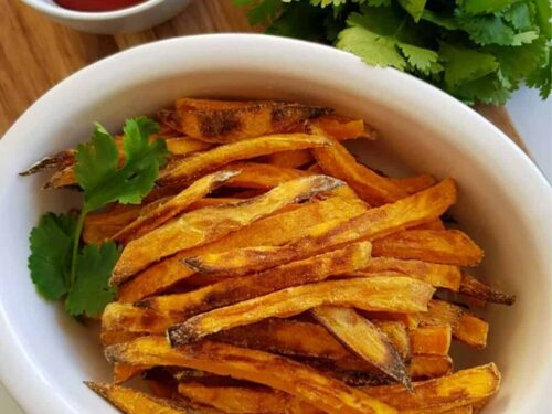 Oven Baked Sweet Potato Fries Hint Of Healthy