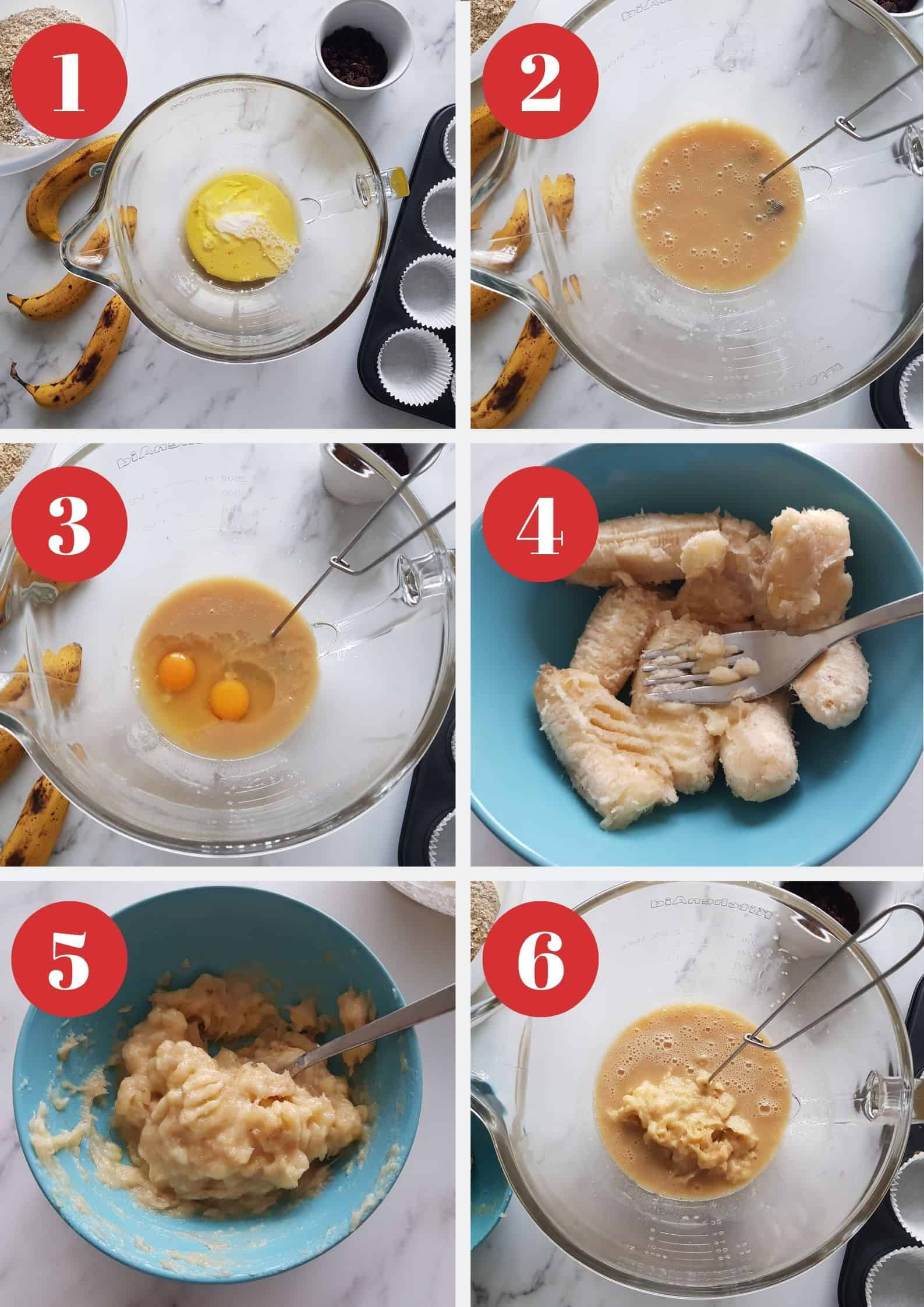 Infographic showing how to make banana oat muffins with raisins.