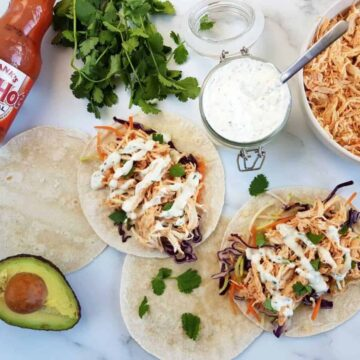 Buffalo chicken tacos.