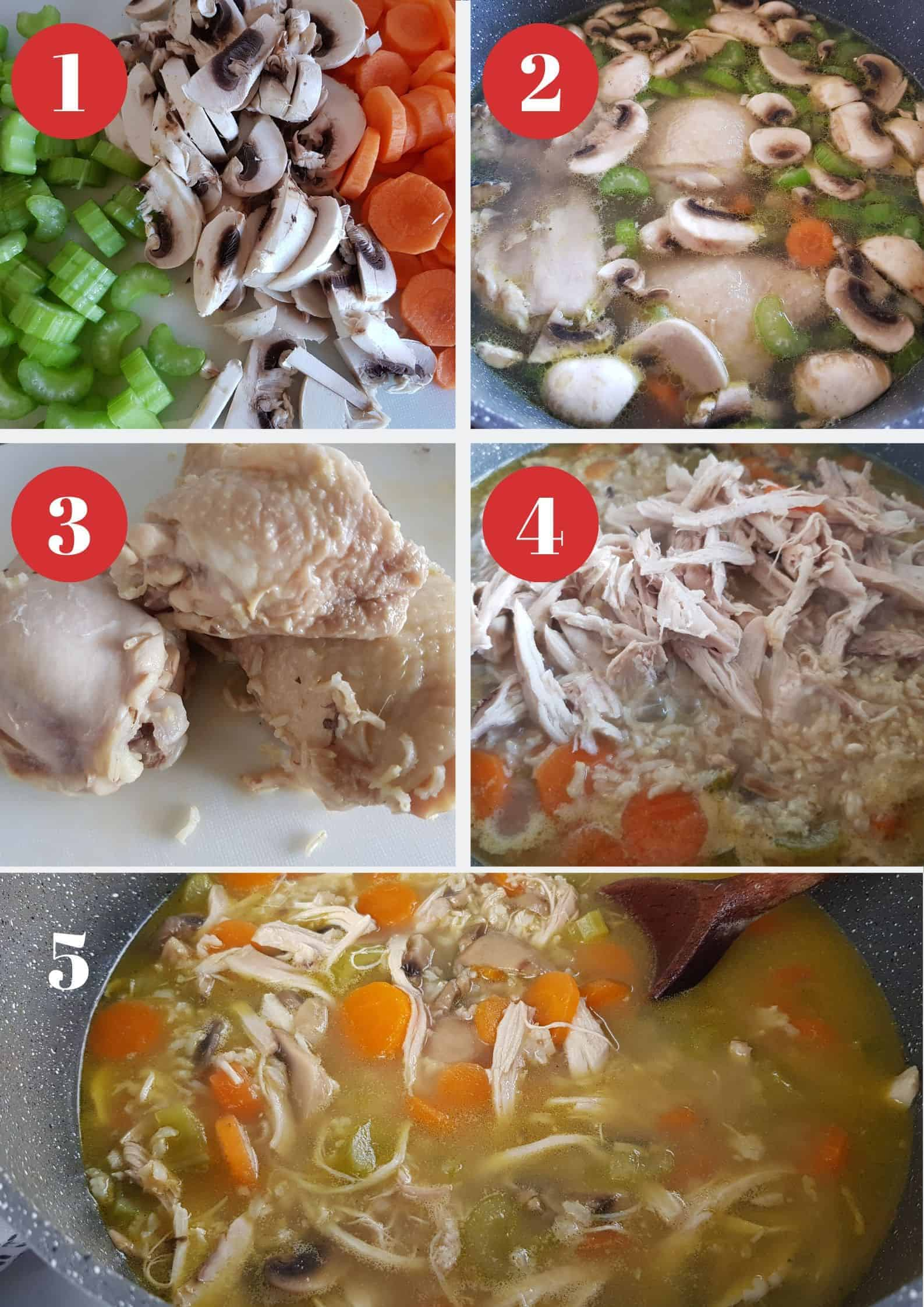 Infographic showing How to make chicken and rice soup.