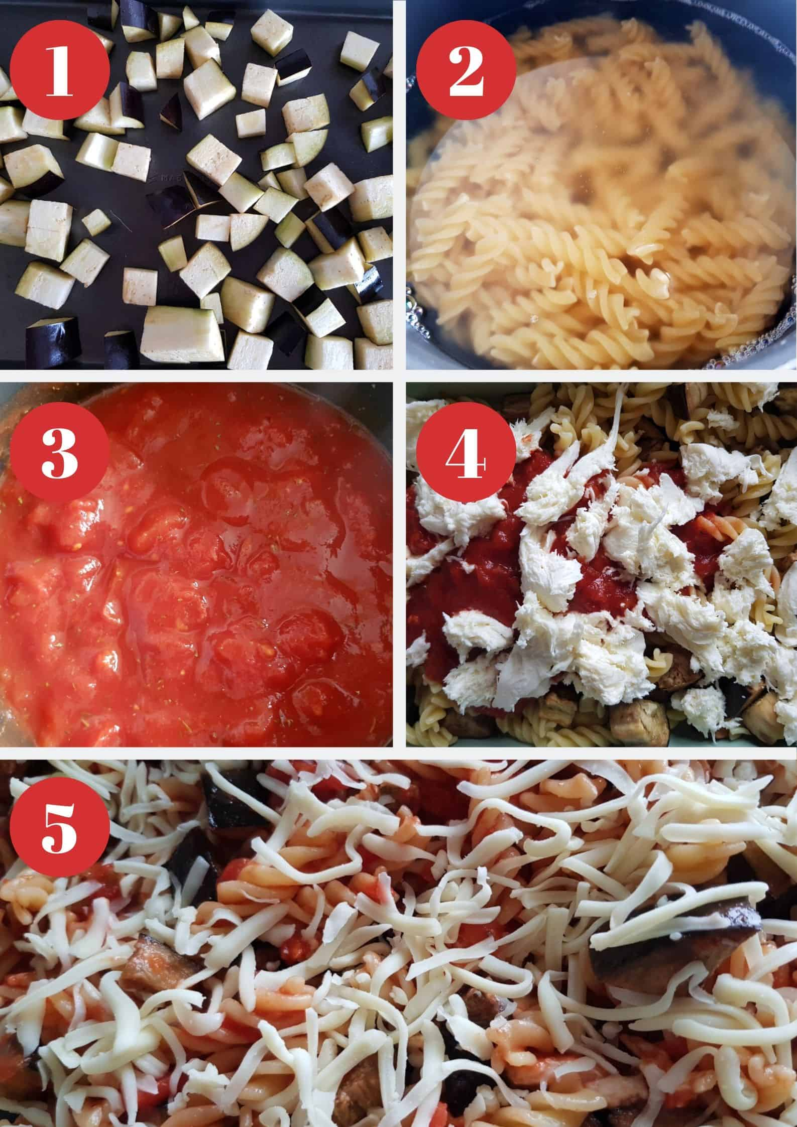 Infographic showing how to make eggplant and mozzarella pasta bake.
