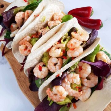 shrimp tacos with lime and chili.