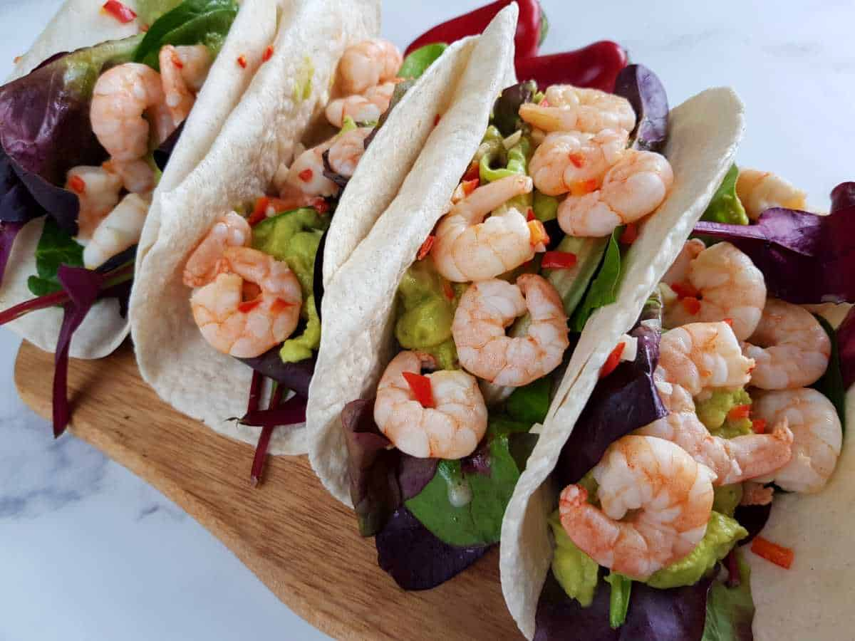 Tacos with lime and chili shrimp.