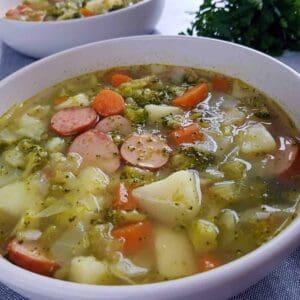 smoked sausage and veggie soup.