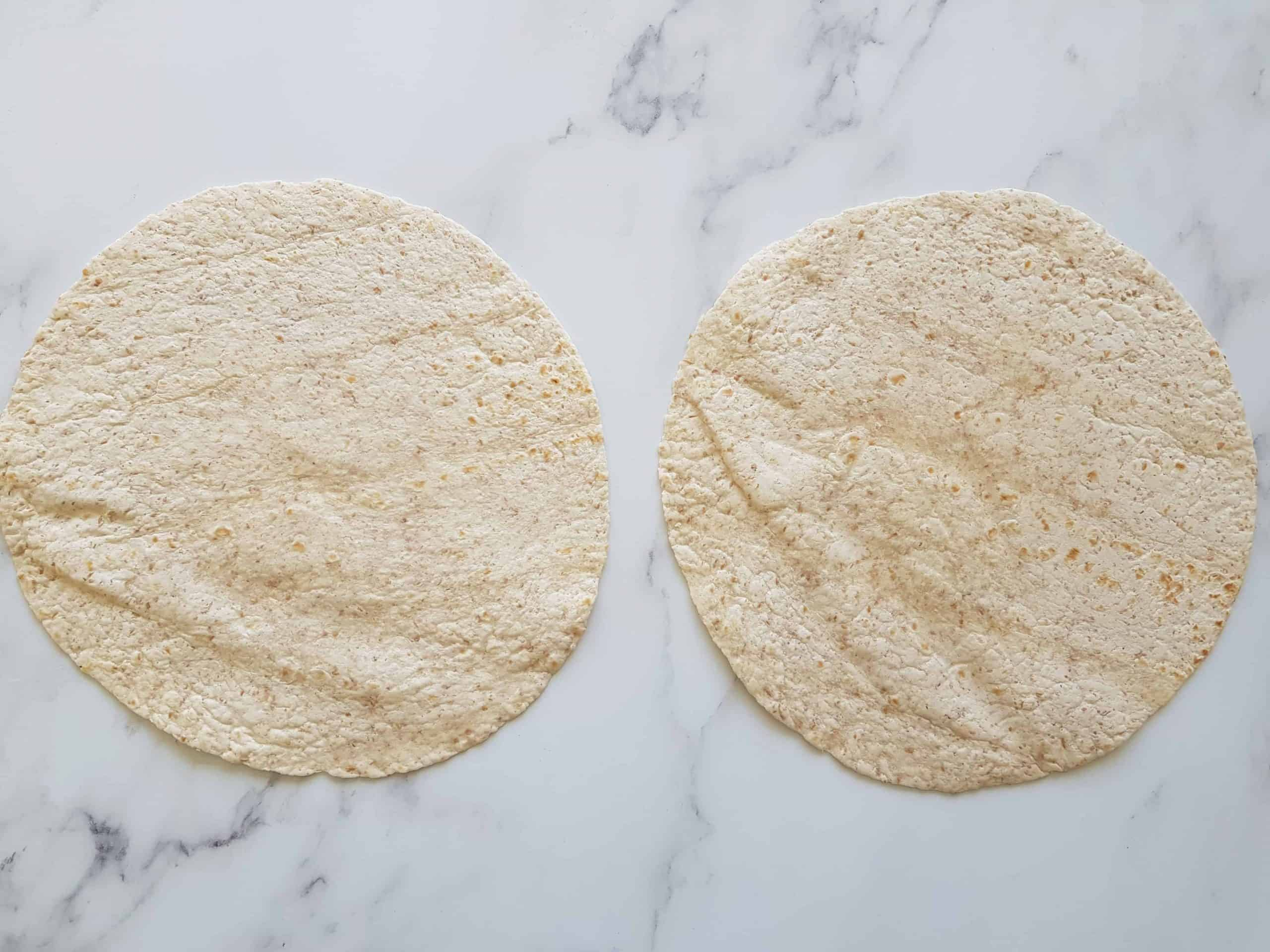 Tortilla wraps on a table.