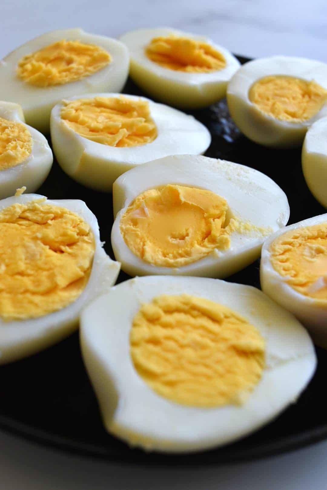 Halved hard boiled eggs.