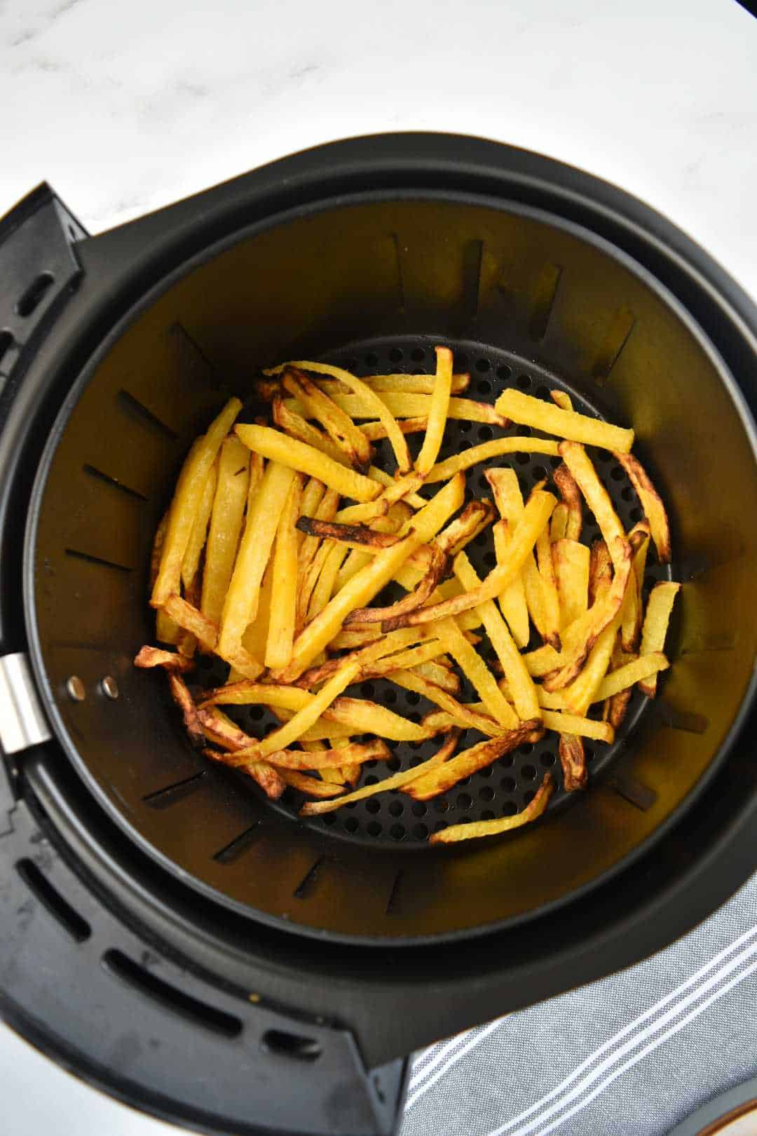 Rutabaga fries in an air fryer.