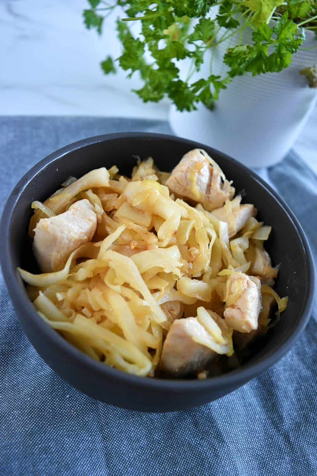 Cabbage and chicken stir fry in a bowl with fresh herbs in the background.