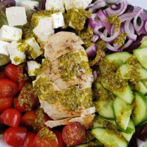 Chicken pesto salad.