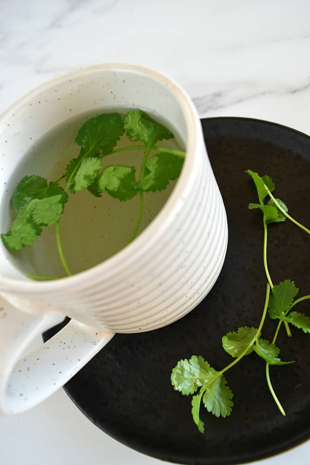 Cilantro tea in a cup with fresh cilantro on the side.