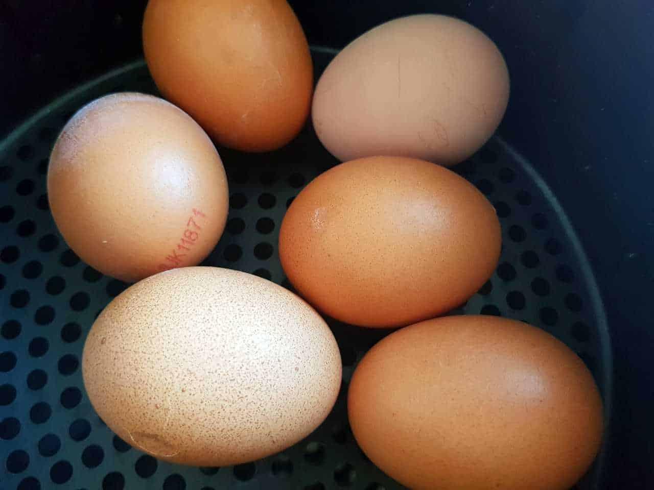 Eggs in an air fryer.