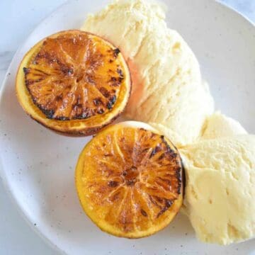 Air fryer roasted oranges dessert.