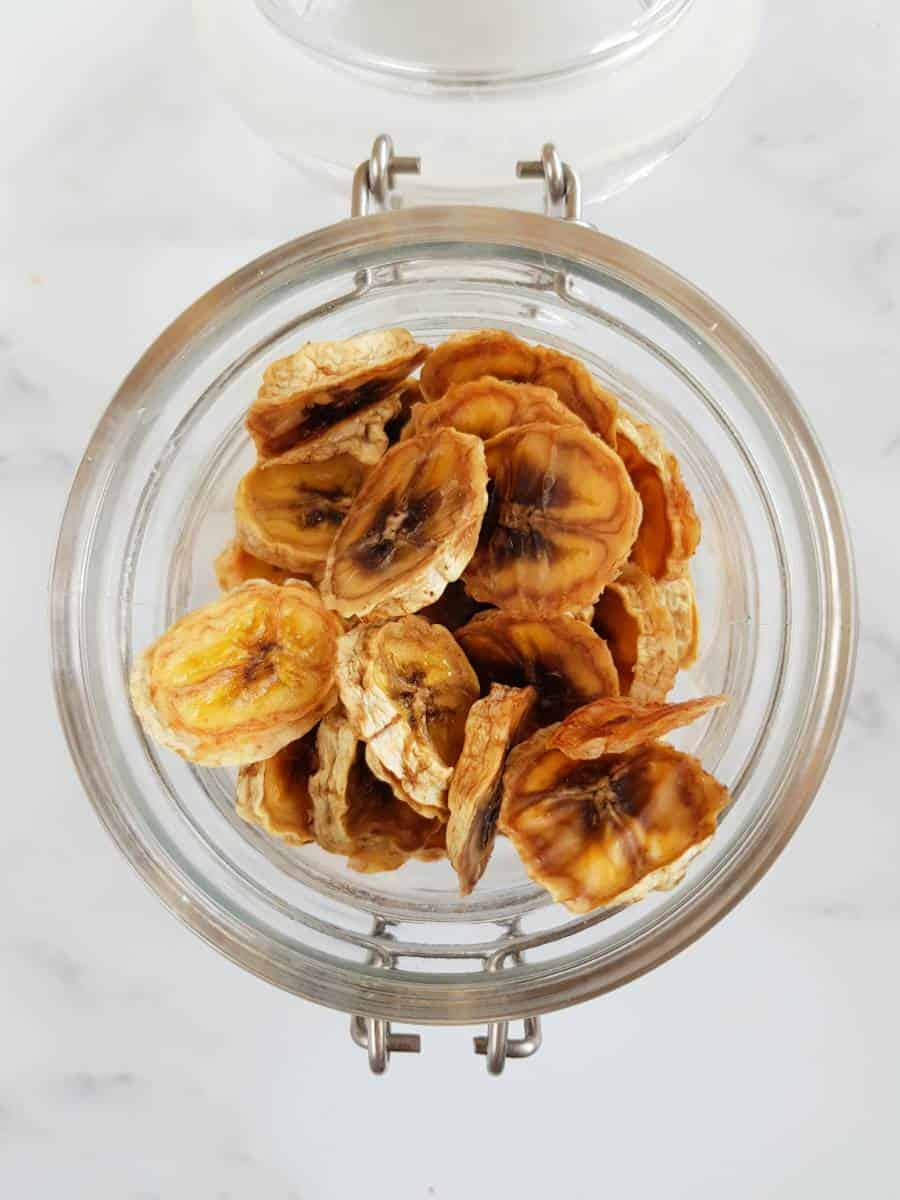 Dried banana chips in a jar.