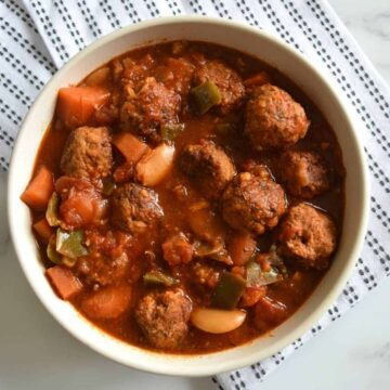 Crockpot meatball stew in a bowl.