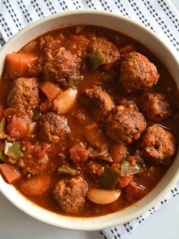 Crockpot meatball stew in a bowl.