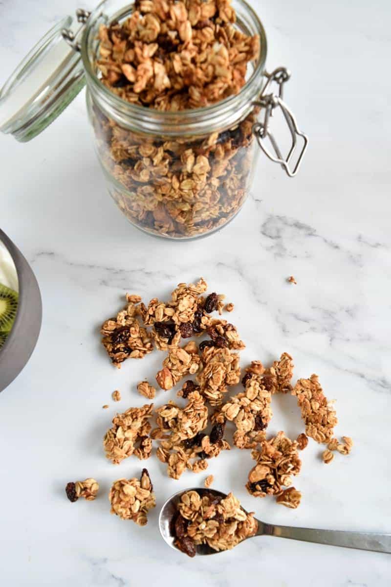 Granola with raisins and almonds.