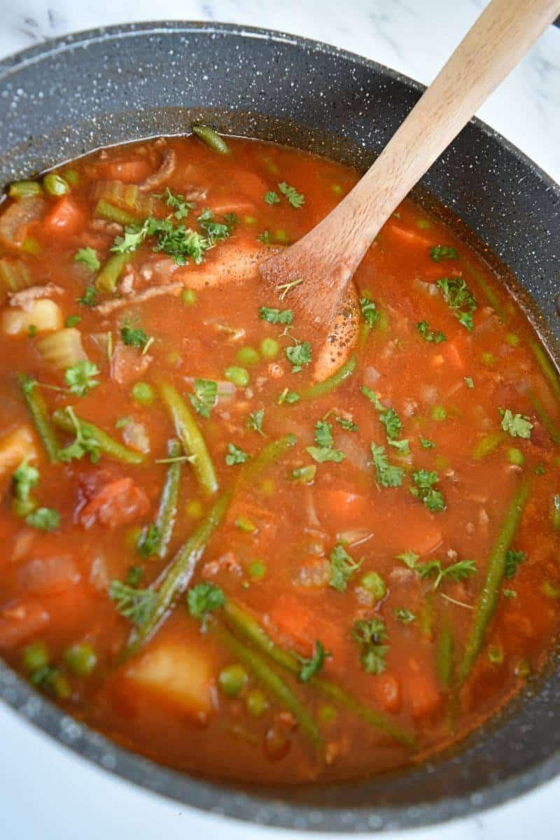 Hamburger soup in a pot.