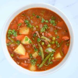 Hamburger soup in a bowl.