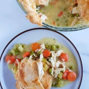 Healthy dairy free chicken pot pie on a plate.