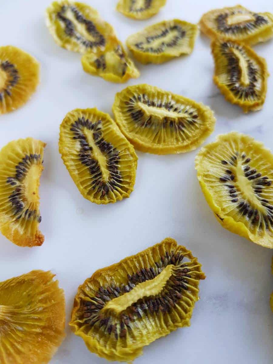 Oven dried kiwi chips.