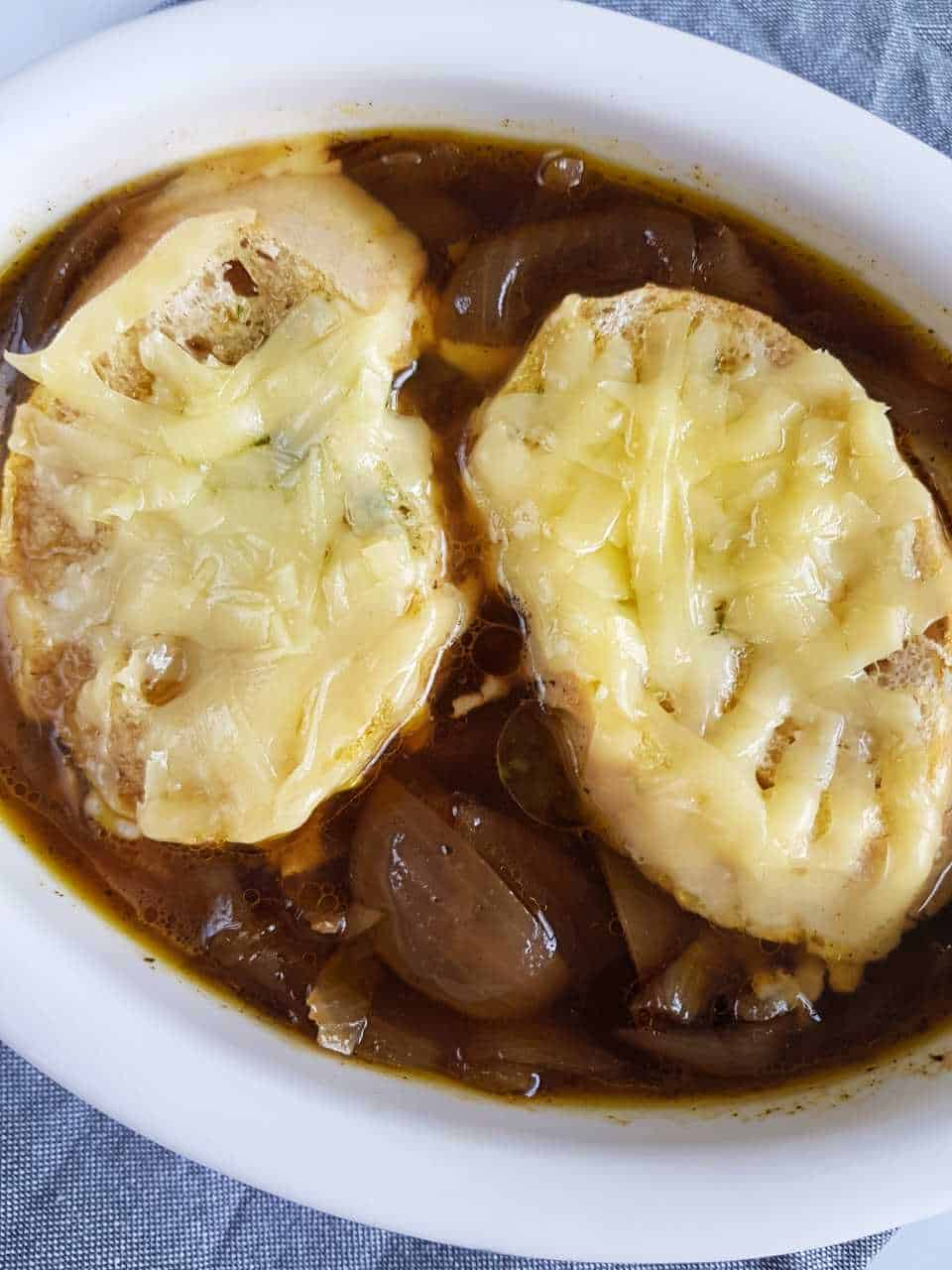 Onion soup in slow cooker.