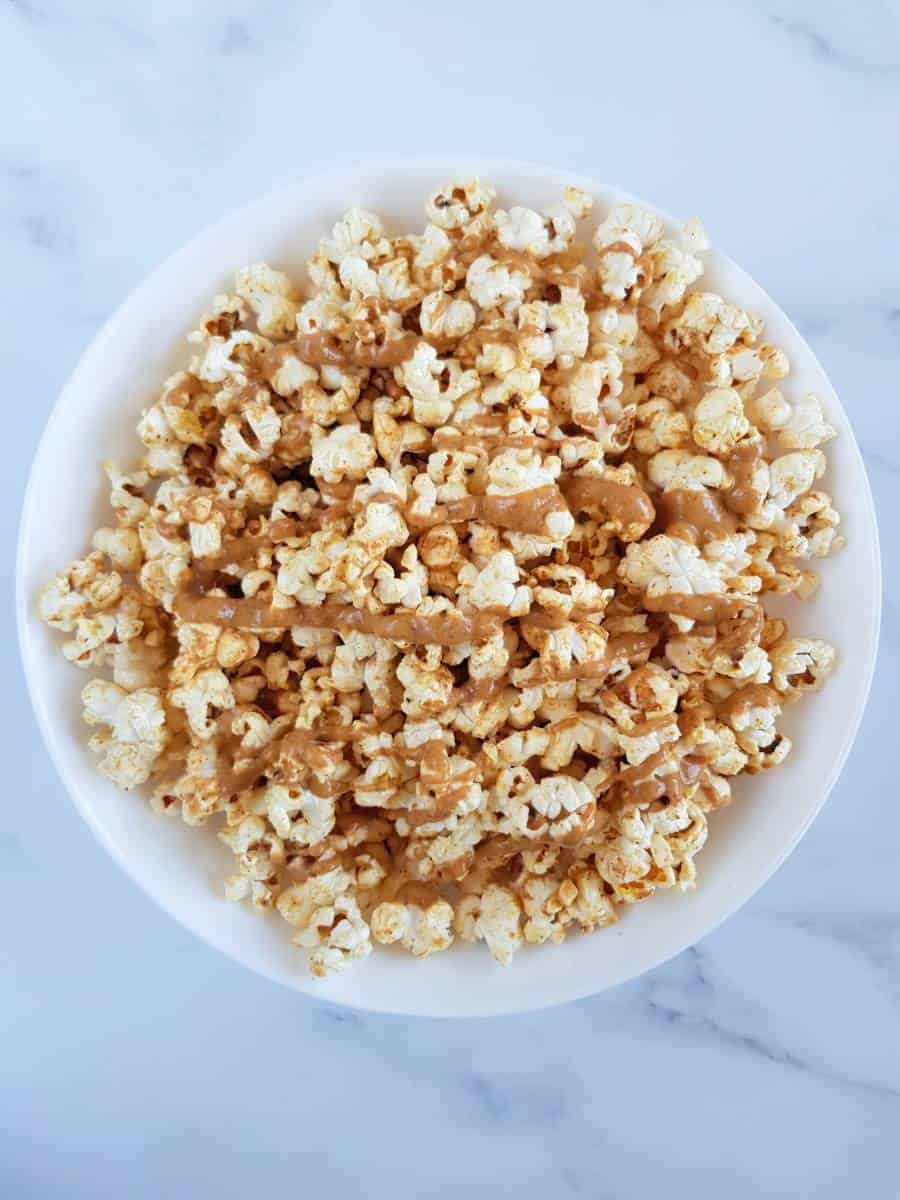Peanut butter popcorn in a bowl.