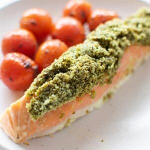 Pesto Crusted Salmon on a plate.