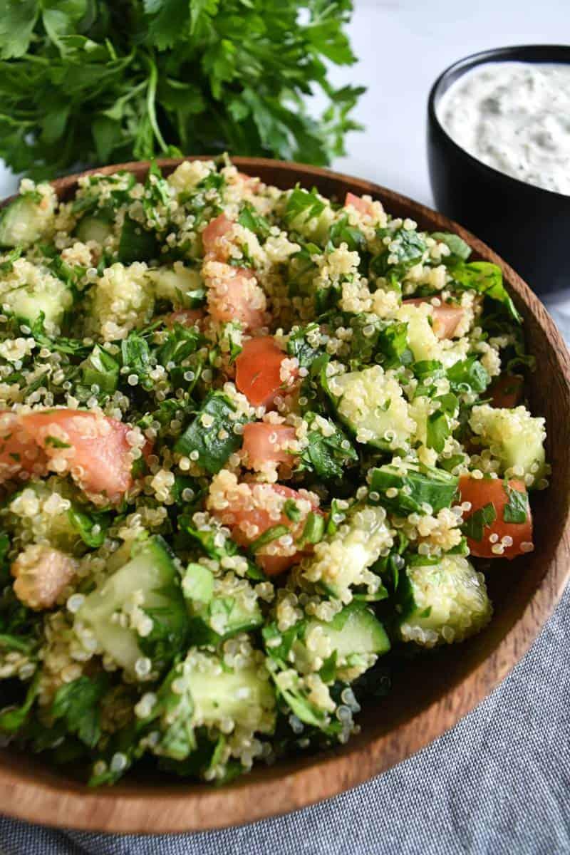 Quinoa tabouli in a bowl.