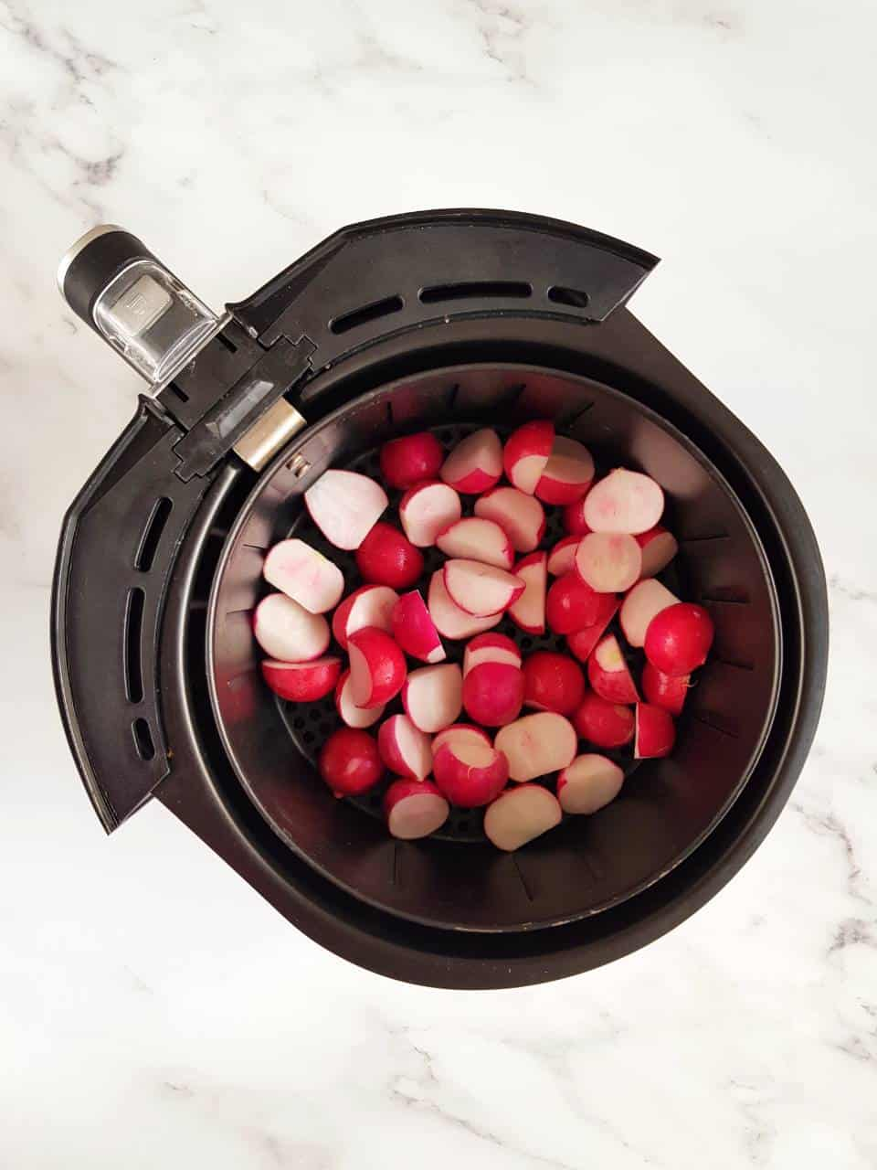 Radishes in an air fryer.