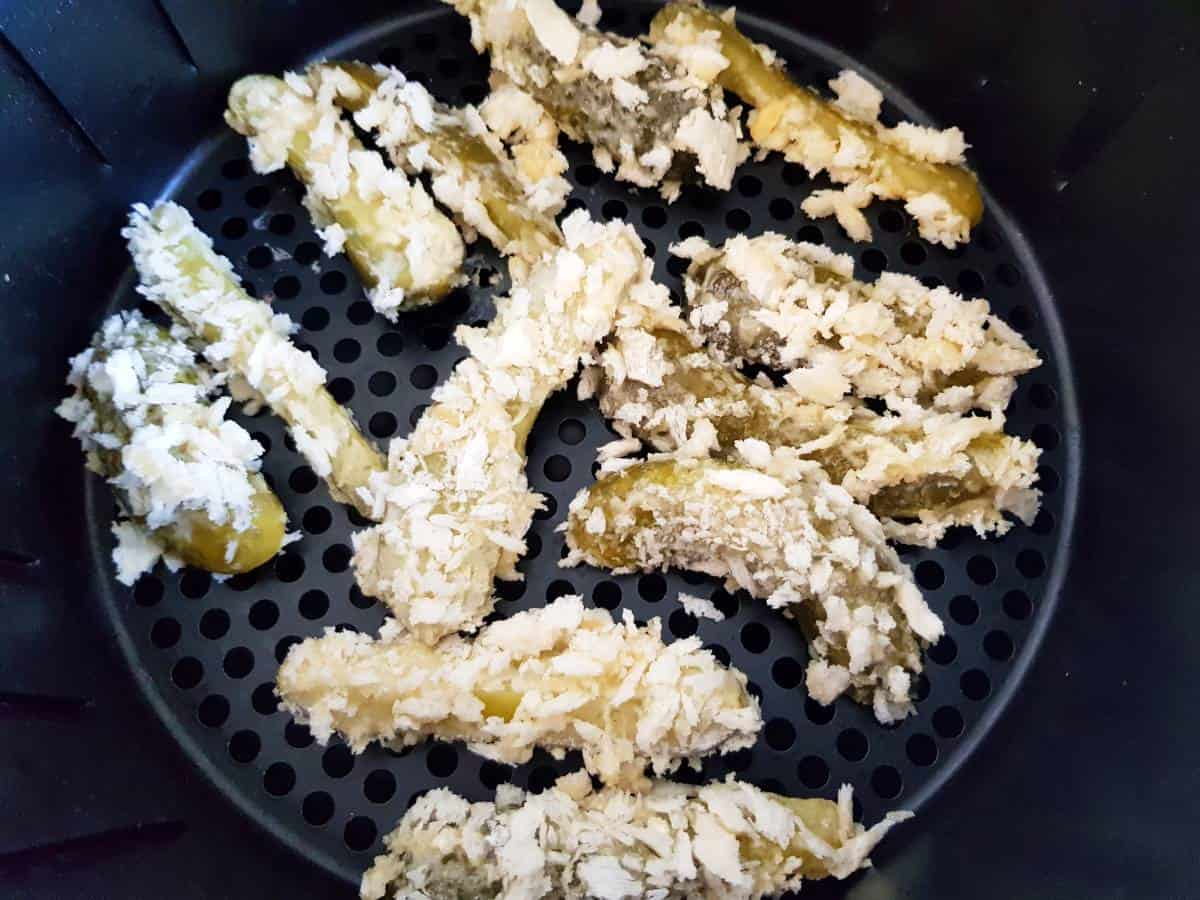 Breaded pickles in air fryer.