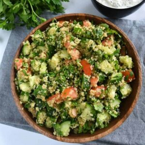 Tabbouleh with quinoa and parsley.