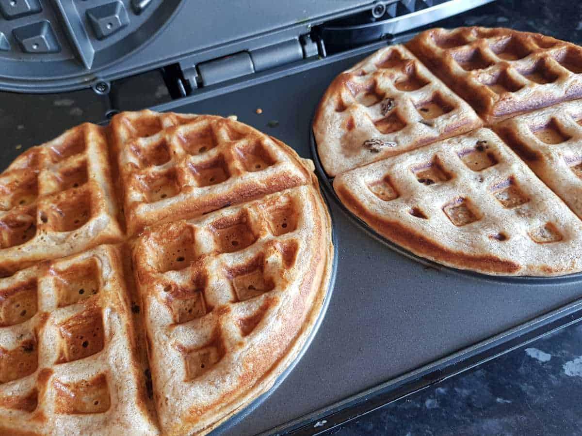 Waffles in a waffle maker.