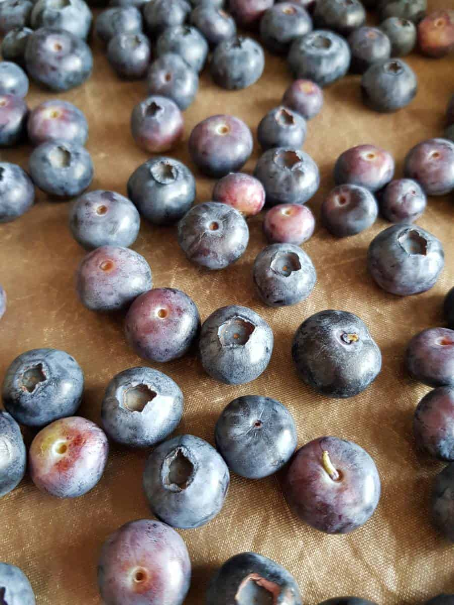 Blueberries on baking sheet.