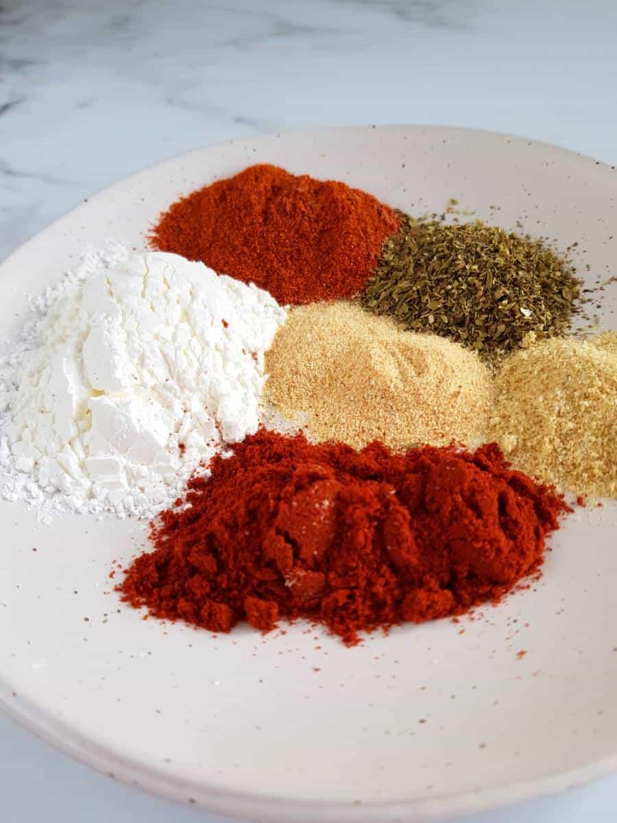 Fajita spices on plate.