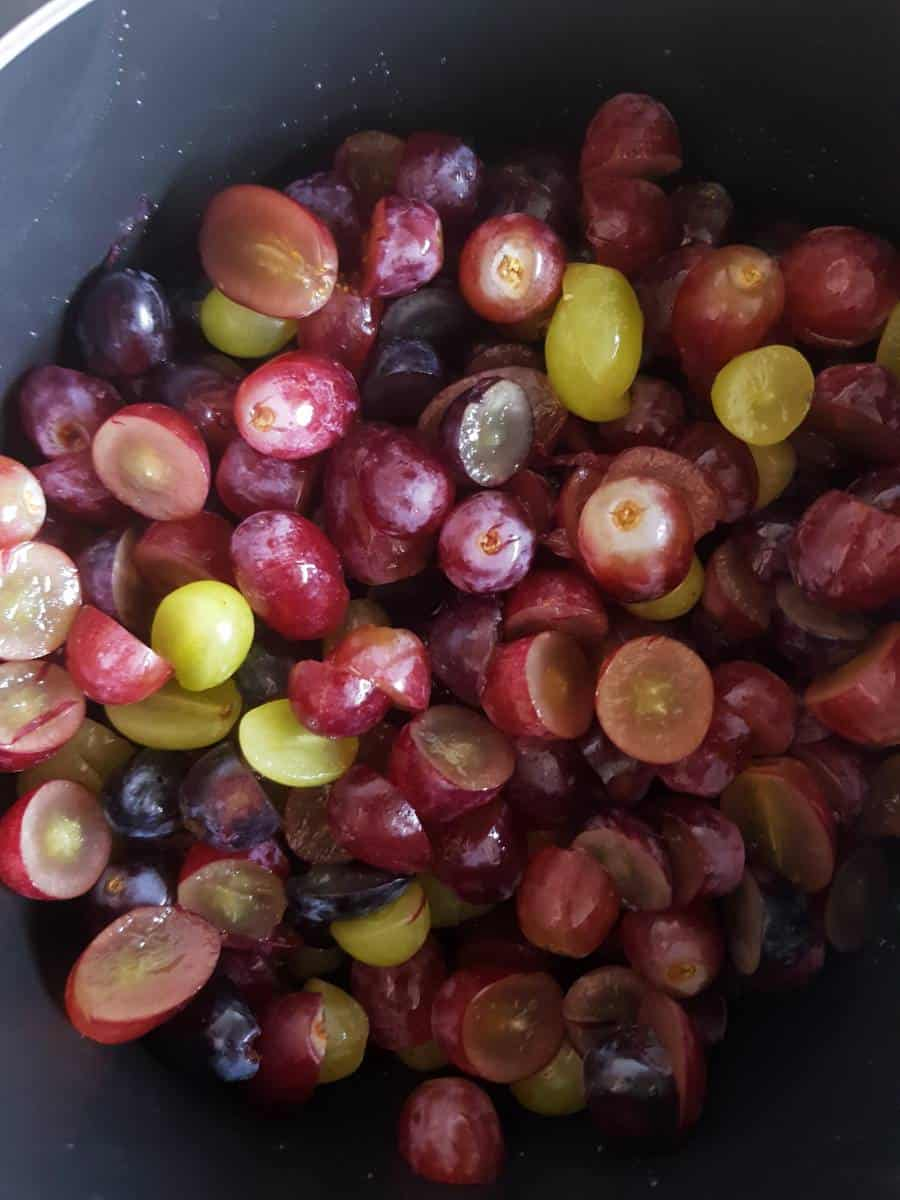 Grapes in a pot.