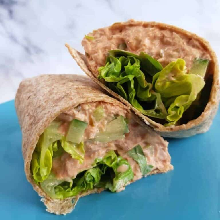 Healthy spicy tuna wrap.