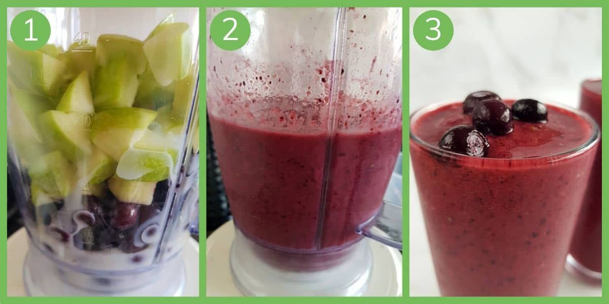 Infographic showing how to make blueberry apple smoothie.
