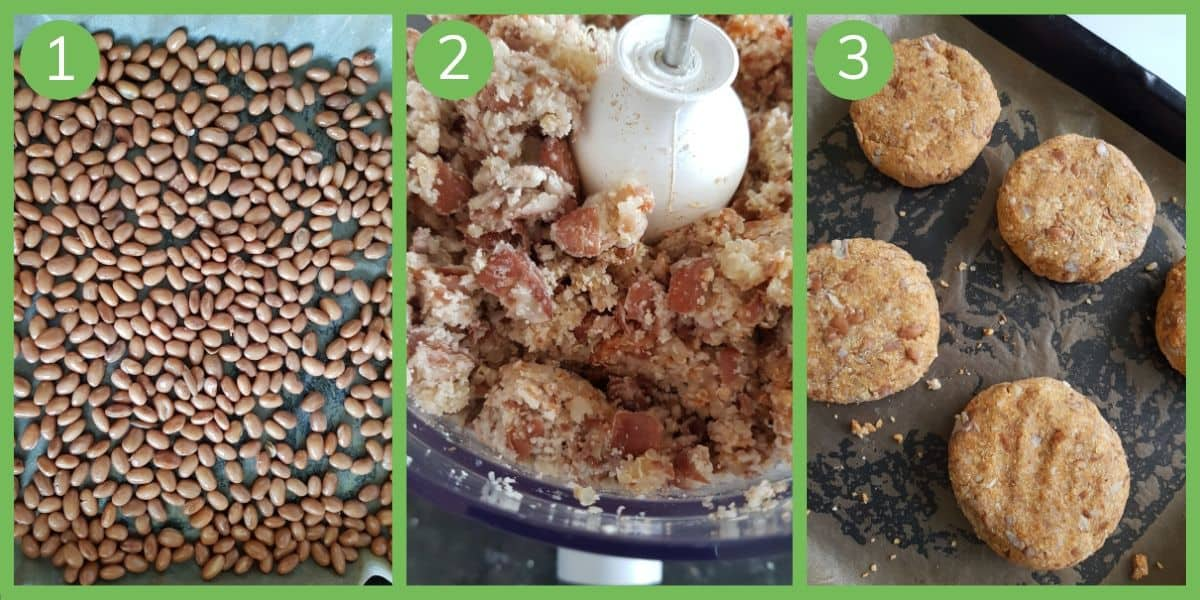 Infographic showing how to make pinto bean burgers.