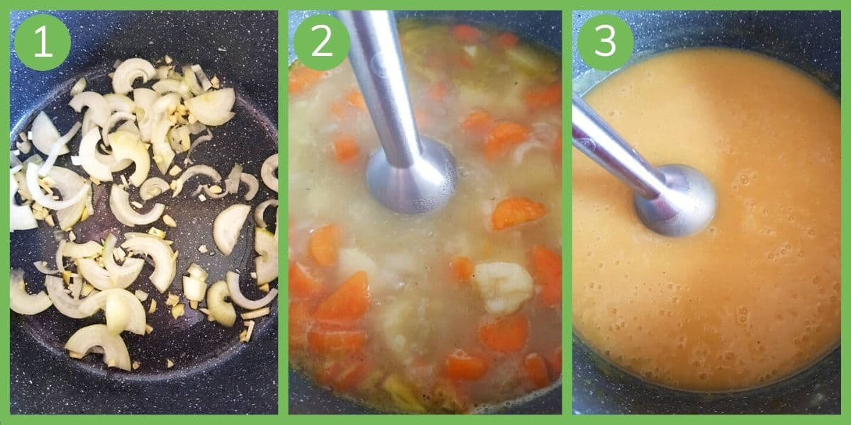 How to make potato and carrot soup.