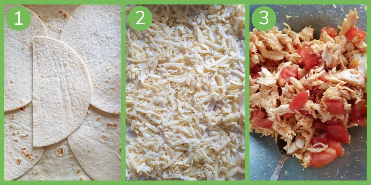 Illustration of first 3 steps towards making sheet pan buffalo chicken quesadillas.