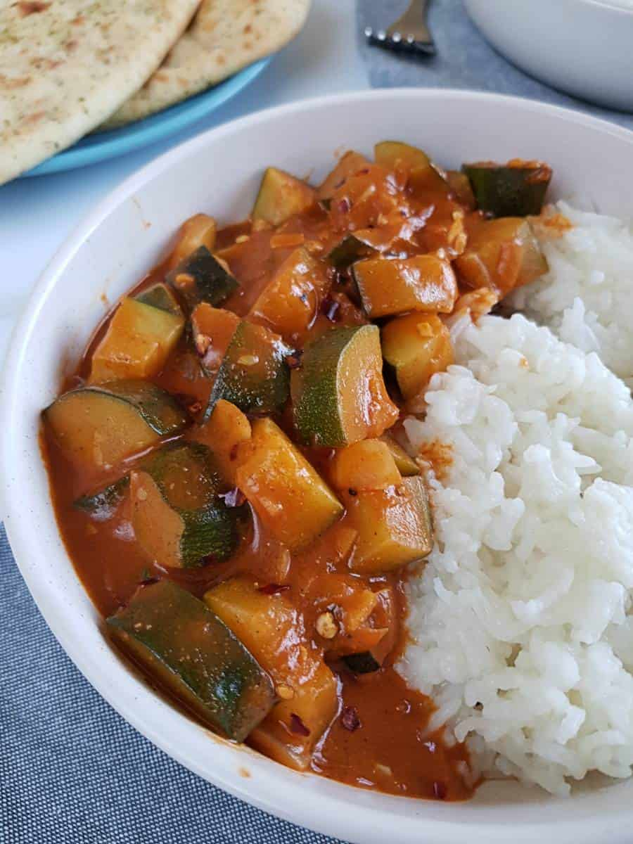 Indian zucchini curry with rice.