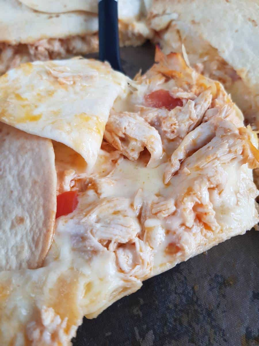 Sheet pan buffalo chicken quesadillas opened up.