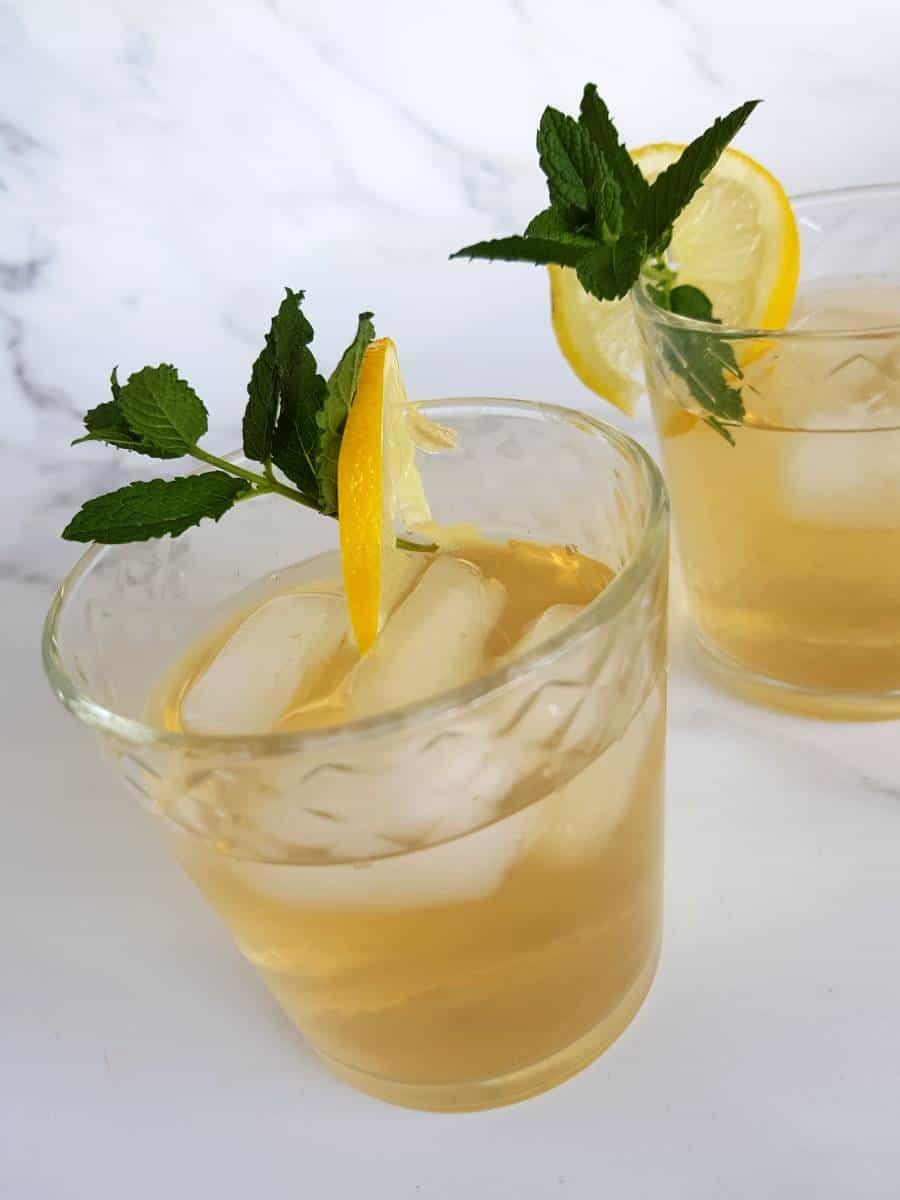 Lemon and ginger iced tea.