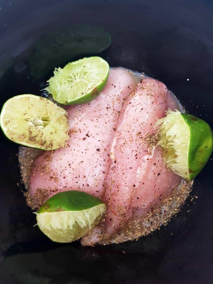 Mojo chicken fillets in slow cooker.