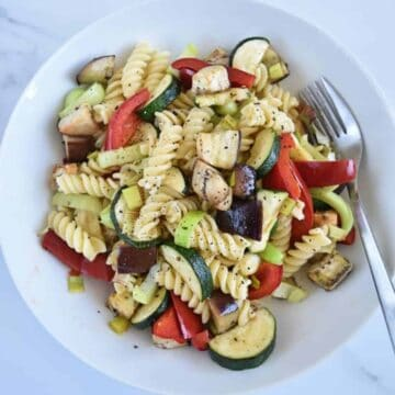 Pasta salad with roasted veg.