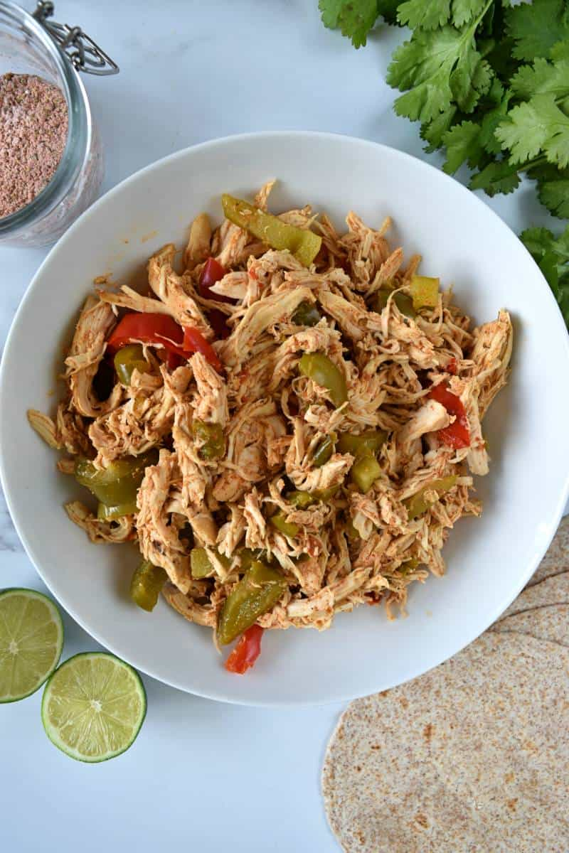 Pulled chicken and peppers.