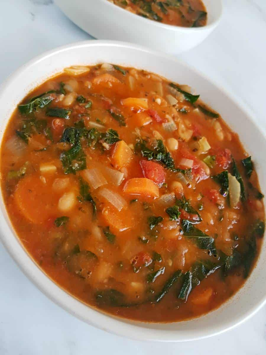 Bean carrot tomato and kale soup.