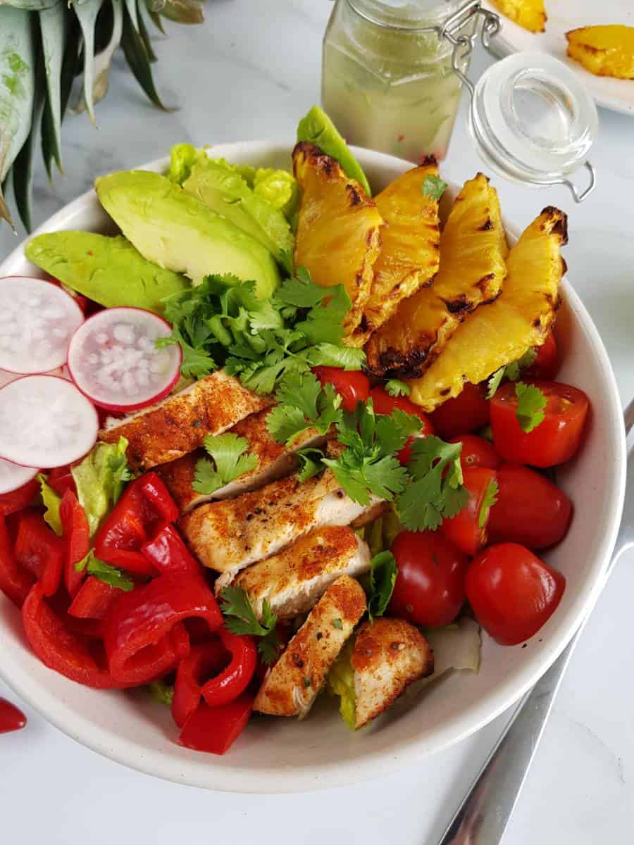 Chicken salad with grilled pineapple.